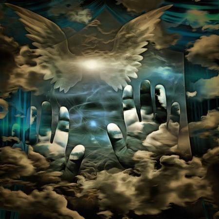 Peinture surréaliste. Étoile brillante avec des ailes blanches dans le ciel. Mains humaines et rideaux.