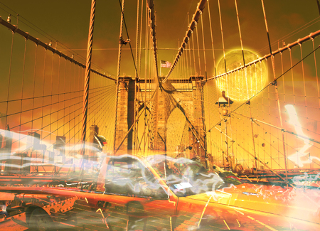 Surreal digital art. Yellow cab on the Brooklyn bridge. Graffiti elements. Full moon in the sky. Stock Photo