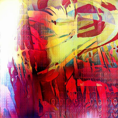 impression: Abstract painting. Paint strokes and binary code. Stock Photo