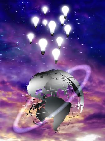 Digital art. Globe with orbital ring and light bulbs. Light bulbs represents ideas. 3D render. Stock Photo