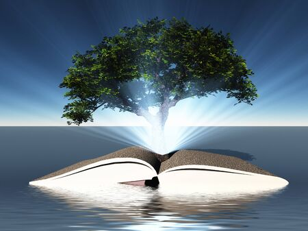 Surreal digital art. Green tree grows from open book.