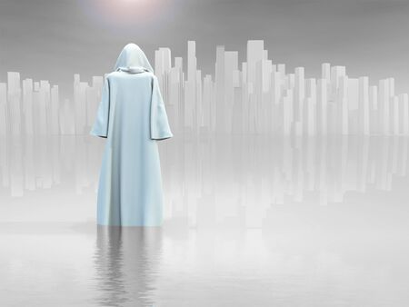 Surrealism. Robed Traveler before the pure city. Stock Photo