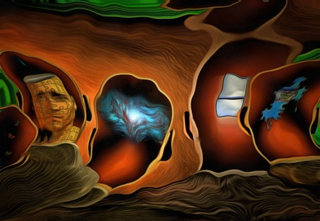 Surreal painting. Mens heads with different thoughts.