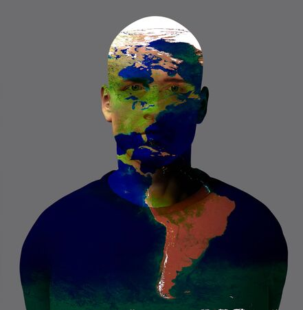 Man with worlds map. 3D rendering.