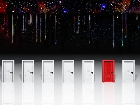 Surreal digital art. Seven white door with one red door.