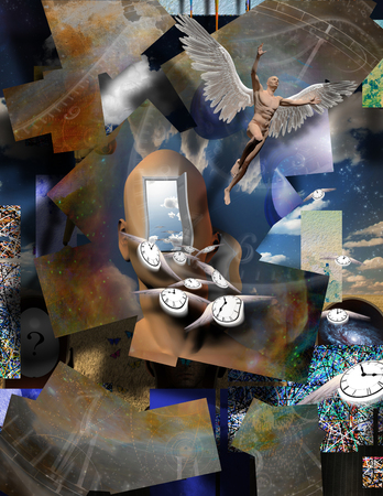 Surrealism. Mans head with opened door to another world. Naked man with wings represents angel. Winged clocks symbolizes flow of time. Warped space.
