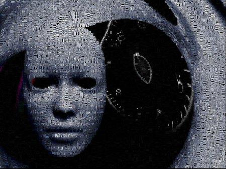 Surrealisme. Wit masker en tijdspiraal. Woorden. Stockfoto