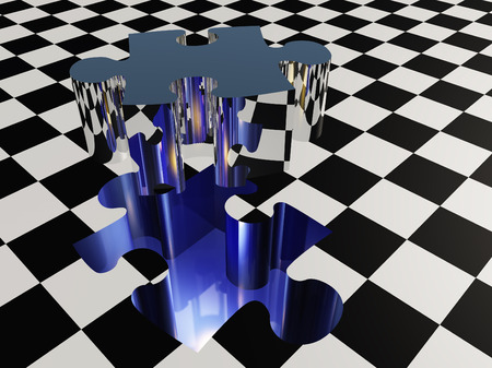 Missing puzzle piece on checkered surface