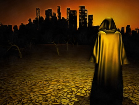 Surrealism. Figure in cloak stands before desolate city. Stock Photo