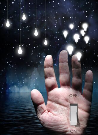Switch in Hand with light Bulbs