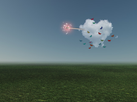 Surrealism. Cloud in shape of heart with ignited wick.
