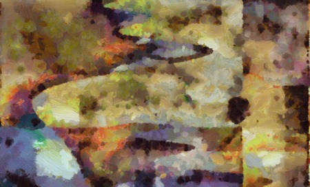 Abstract painting in muted colors.