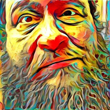 図。老人の顔。 写真素材