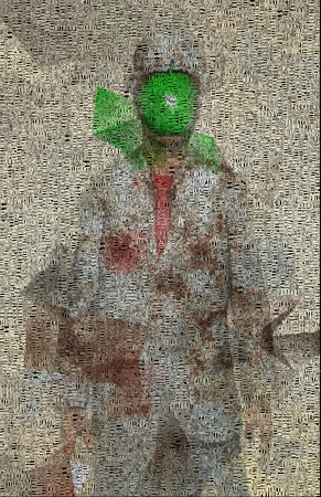 bowler hat: Surreal digital art. Man in white suit with green apple instead of face. Rene Magritte style. Picture is composed entirely of the words. Stock Photo