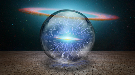 Surrealism. Galaxy inside crystal sphere.