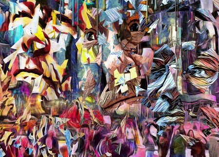 new york city times square: Complex abstract painting. Colorful mosaic elements and pieces of mens faces.