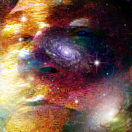 Surrealism. Mans face on deep space background.