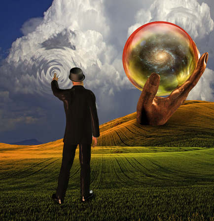 Man in suit touches sky creating ripples with galaxy revealed in sphere
