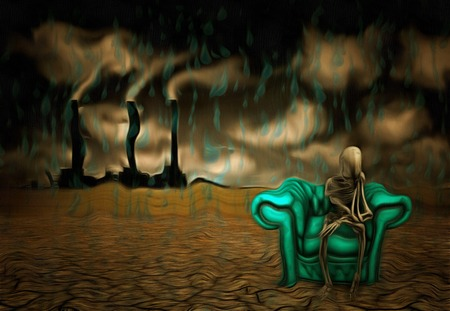 Surrealism. Alien skeleton sits in armchair in arid land. Factory at the horizon.