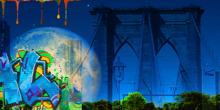 Surreal digital art. Brooklyn bridge on New Yorks cityscape. Giant moon, pieces of graffiti and paint drops.