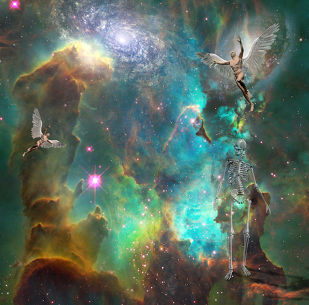 Surrealism. Naked men with wings symbolizes angels in space. Skeleton represents death. 3D rendering. Some elements provided courtesy of NASA. Archivio Fotografico