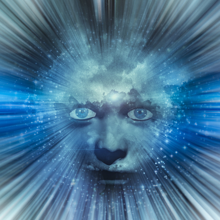 Human face with blue eyes  and clouds for hair is centered in radiating light rays and stars Stock Photo