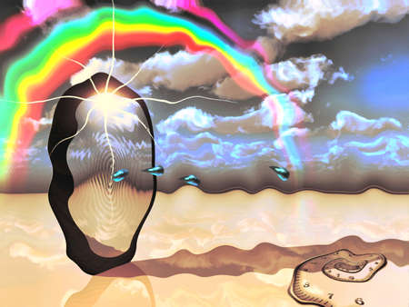 Surrealism. Water drops comes through sky portal. Spiral of time and rainbow in the cloudy sky. Stock Photo