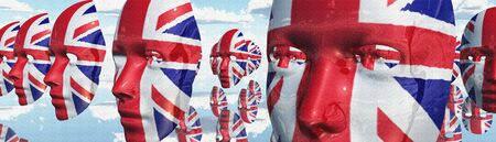 Surreal digital art. Womans masks in Great Britain national colors hovers in the sky.