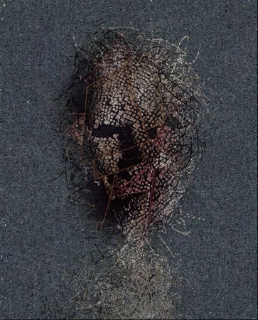 Abstraction. Mask made of cubes and lines. 3D render. Words.