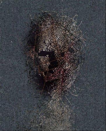 Abstractie. Masker gemaakt van kubussen en lijnen. 3D render. Woorden.