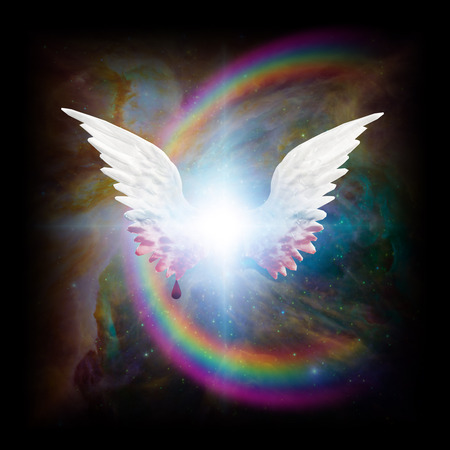 Surreal digital art. Bright star with angel's wings. Blood drips down from wings. Rainbow in colorful vivid universe.