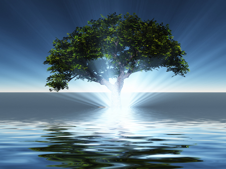 Surreal digital art. Green tree grows from the water.