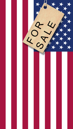 USA flag with bage - for Sale Stock Photo