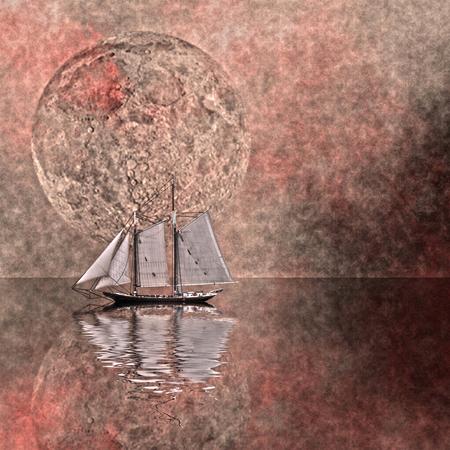 Surreal scene. Sail boat. 3D rendering. 版權商用圖片