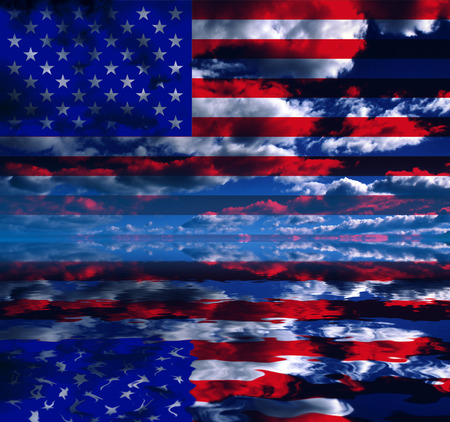 Surreal digital art. USA Flag over clouds reflected in the water. Stock Photo