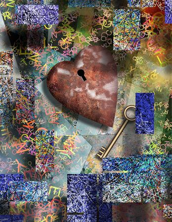 3D rendering. Surrealism. Rusted heart with keyhole and golden key. Messy anstracted background with colorful lines and letters. Stock Photo