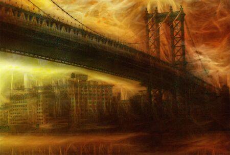 Manhattan Bridge. Painterly Landscape Stock Photo