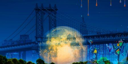 Surreal digital art. Manhattan bridge on New Yorks cityscape. Giant moon, pieces of graffiti. Paint drops.
