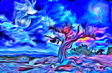Surreal painting. Old tree, full moon and mystic clouds in the sky. 3D rendering. Stock Photo