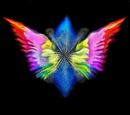 3D rendering. Surreal painting. Angels wings in colors of rainbow.