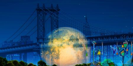 Surreal digital art. Manhattan bridge on New Yorks cityscape. Giant moon, pieces of graffiti.