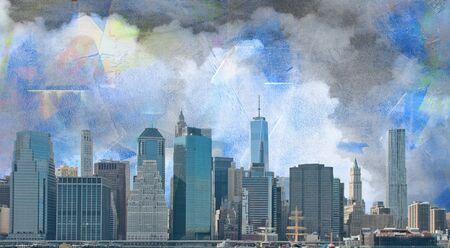 Modern art. View on Manhattan. Stock Photo