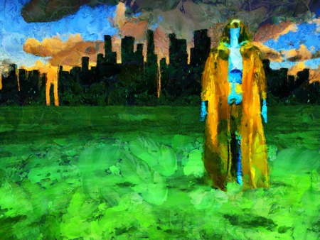 Surreal painting. Android in cloak stands before futuristic city. Brush strokes. 3D rendering.