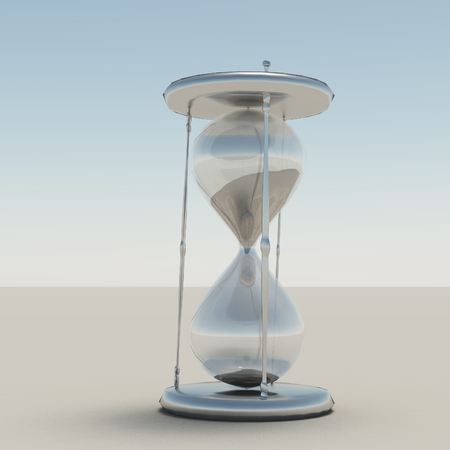 3d render. Hourglass with silver parts.
