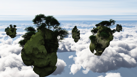 Islands float above the clouds. 3D rendering.