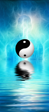 Surreal digital art. Humans silhouette with shining energy and Yin-Yang sign reflected in the water. 3D rendering.