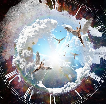 Vivid galaxy. Naked winged menesent angels. 3D rendering.