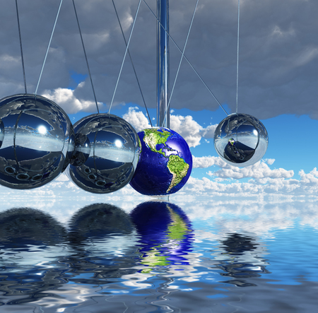 Surreal digital art. Newtons pendulum. One of the balls represents planet Earth. 3D rendering.