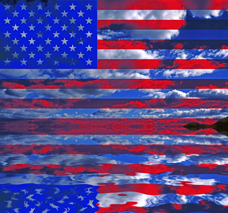 Surreal digital art. USA Flag over clouds reflected in the water. 3D rendering. Stock Photo