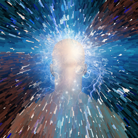 Surreal digital art. Mans head with stars, lightnings and clouds. 3D rendering. Stock Photo